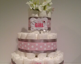 It's a Girl Diaper Cake, Baby Shower Centerpiece, Girl Diaper Cake