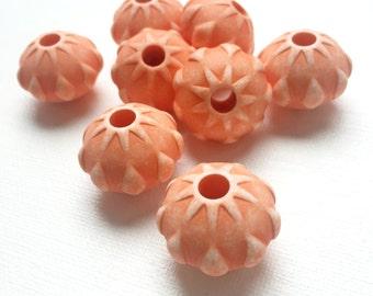 Geometric Vintage Orange Large Geometric Plastic Beads - PA1023