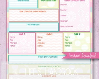 emergency contact form for babysitter
