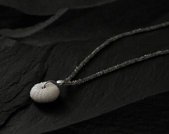 SEA URCHIN Necklace, Labradorite and porcelain,  Shell Necklace, Porcelain Jewelry, maritime jewelry, porcelain pendant, shell Necklace