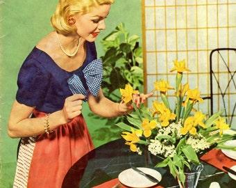 1956 Coats & Clark's Hostess Book / Vintage Crochet Book #325 / Matching Aprons and  Place Mats