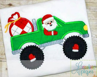 Santa Driving Monster Truck Digital Machine Embroidery Applique Design 4 Sizes