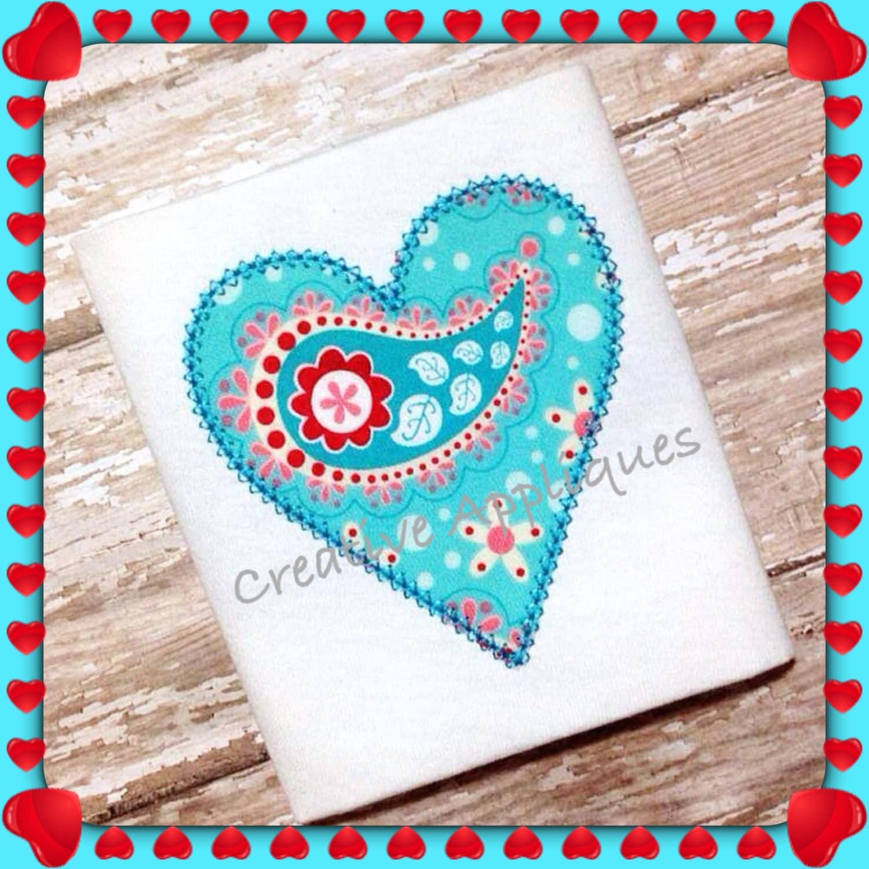 Monogram valentine heart vintage stitch digital machine