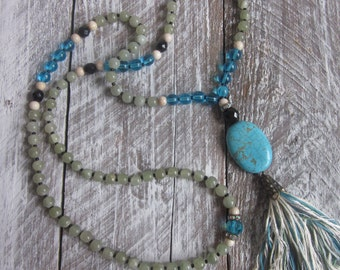 long beaded necklace tassel necklace Aventurine turquoise necklace tassel necklace 108 bead mala boho chic bohemian long beaded necklace