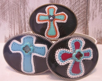 belt buckles  cross belt buckle embellished belt buckle turquoise Bohemian belt buckle Cowgirl southwestern artisans painted belt buckle