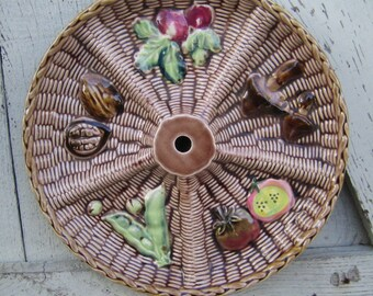 """Fall Decor! 10.5"""" Appetizer Platter for the Patio - Chicken in a Basket - Rossini of Japan"""