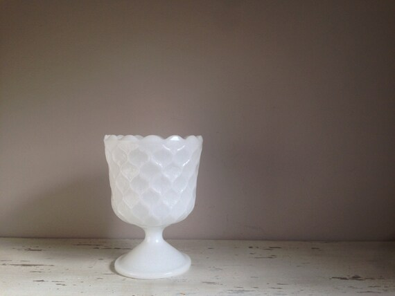 Milk Glass Candy Dish / Footed Serving Bowl / Small Planter / Milk Glass Vase