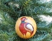 Southwestern Hand-painted Gourd Christmas Ornament #277G Quail Bird Southwest