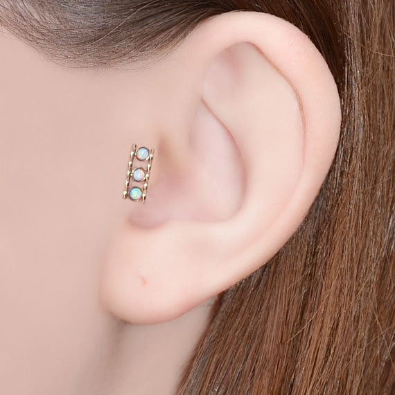 2mm Opal Tragus Stud - Gold Nose Stud - Cartilage Hoop - Helix Earring Stud - Nose Ring - Tragus Jewelry - Nose Piercing 20g