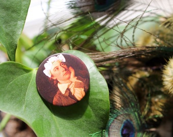 John Keats in a flower crown 32mm pin back badge