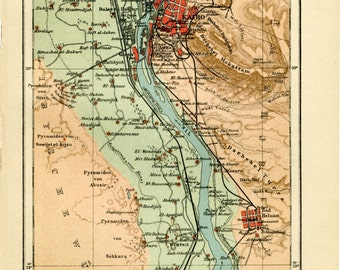 Vintage Map of Cairo and Egyptian Pyramids C.1907 - Vintage Decor Art Print - Ancient Egypt Cartography, Gift Idea - Travel