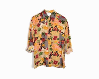 Vintage Floral Silk Blouse in Red and Gold / Autumn Floral Shirt