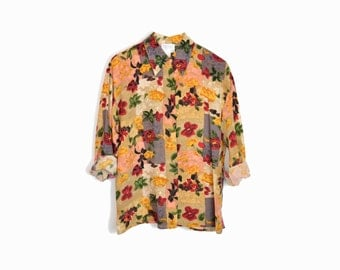 sale! 10% off - Vintage Floral Silk Blouse in Red and Gold / Autumn Floral Shirt - women's small