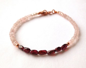 Delicate Bracelet with Rose Quartz and Red Garnet with Copper Accents, Thin Bracelet, Pink Gemstones, Birthday Gift, For Her