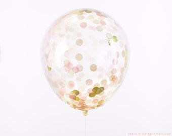 "Confetti Balloon - Blush Pink and Gold - Choose 12, 16, 18, 36 inch - Large & Small - Ivory Champagne 1"" Circle Filled - Tissue Paper Decor"