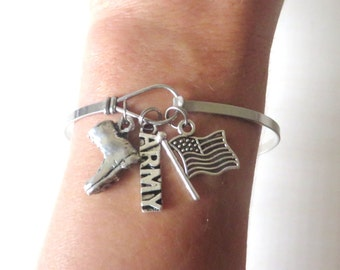 ARMY Combat Boot Flag Support Our Troops Stainless Steel Loop Bangle Bracelet