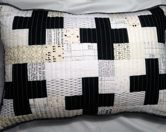 Modern Black & White Quilted Pillow Case