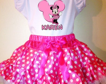 Minnie Mouse Party Dress Pink  1T,2T,3T,4T,5T,6T,7T,8T 2pc tutu set Name and birthday number