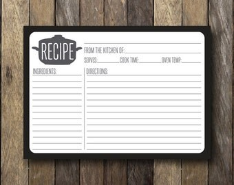 Black and White Recipe Card - Instant Download - Printable Recipe Card - Black and White Kitchen - Recipe Card Printable - 5x7 Recipe Cards