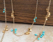 Versatile Turquoise and Gold Beaded Layering Necklace - Adjustable Lengths - Wear Long or Double Wrap for Two Different Looks