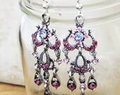 Vintage Glam Chandelier Earrings, Antique Silver with Purple Crystals - Gorgeous Ornate Statement Earrings for Everyday and Formal Events