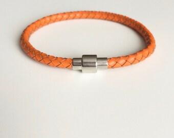 Orange Braided Leather Bracelet Magnet Clasp -  Orange Bangle Bracelet - Men's Bracelet - Women Bracelet - Orange Awareness Illness - Boho