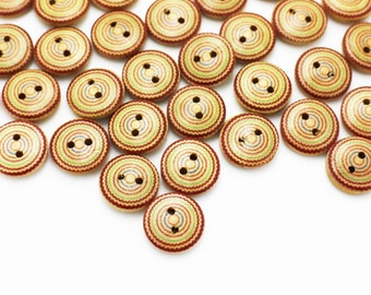 Ethnic Circle Pattern Wood Button, Wooden Buttons, Two Holes Button, BOHO Button,Children Button,Sweater button, Baby Button