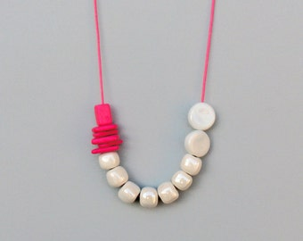 Pink and White Ceramic Necklace, Statement Necklace, Boho Necklace, Geometric Necklace, Long Necklace, Adjustable Necklace, Ceramic Jewelry