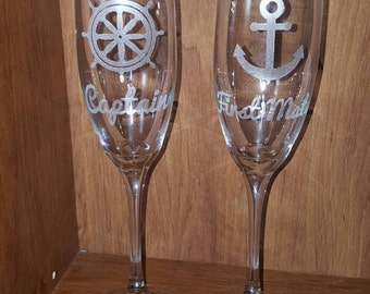 Laser Engraved Set of Captain and First Mate Champagne Flutes ~ Nautical Wedding ~ Newlywed Gift ~ Cheeky Toasting Glasses