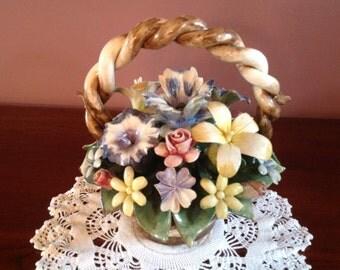 Vintage (1950s) Capodimonte Flower Basket