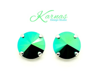 SCARABAEUS GREEN 12mm Rivoli Stud or Drop Earrings Made With Swarovski Elements *Pick Your Finish *Karnas Design Studio™ *Free Shipping