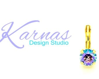 AQUA GLACIER 8mm Crystal Chaton Drop Earrings Made With Swarovski Elements *Pick Your Finish *Karnas Design Studio *Free Shipping*