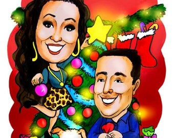 Cartoon Caricature Greeting Card for Christmas. Custom personalized drawing from photos of your family