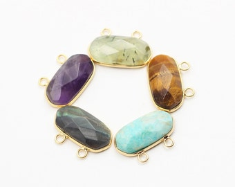 Faceted Pendants -- With Electroplated Gold Edge Charms Wholesale Supplies Prehnite Tiger Eyes Amazonite Labradorite Amethyst CQA-020