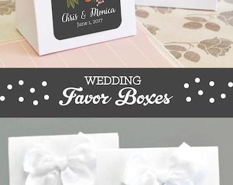 Personalized Wedding Favor Boxes Wedding Favor Box with Bows Rustic Favors Boxes Rustic Wedding Shower Favors  2| (EB2126MP) 24 pcs