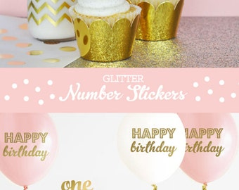 Glitter Numbers - Glitter First Birthday Decorations - Glitter Birthday Cake Topper Pink and Gold First Birthday Girl (EB3056) - 24 stickers