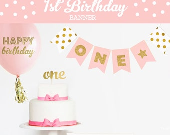 First Birthday Photo Banner - 1st Birthday Picture Banner - Girls First Birthday Photo Props - 1st Birthday Glitter Party Banner  (EB3062)