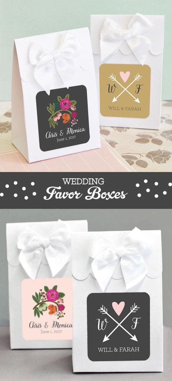 Personalized wedding favor boxes wedding favor box with bows for Personalized wedding shower favors