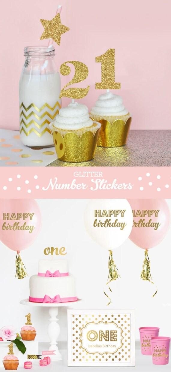 Glitter Numbers Glitter First Birthday Decorations Glitter