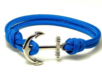 Men's Women's Nautical Anchor Bracelet Blue Silver Anchr