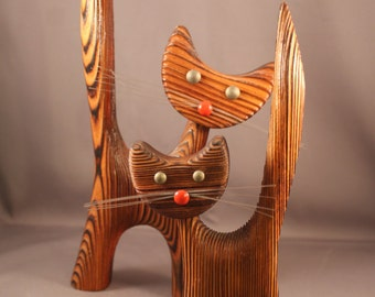 Wood Figurines Funny Pair of Cats True 60s 70s Vintage mid century modern goes well with Wood figures by Hans Bolling Kay Bojesen Denmark