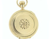 14K Yellow Gold Waltham Pocket Watch with Star Flower Engraved Case