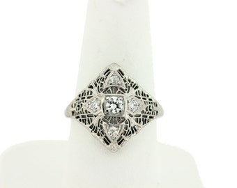 14K Filigree ring with Diamonds