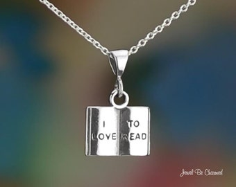 """Sterling Silver I Love To Read Necklace 16-24"""" or Pendant Only Book"""