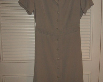 Vintage Eddie Bauer Maxi Classic Understated Career Dress - Putty Color  Size 12
