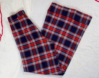 60s Tartan Pants | 60s Wool Pants | 60s Bell Bottoms | 60s Flared Pants | 1960s Wool Pants | 60s Plaid Pants | Wool Plaid Pants | 24 Waist