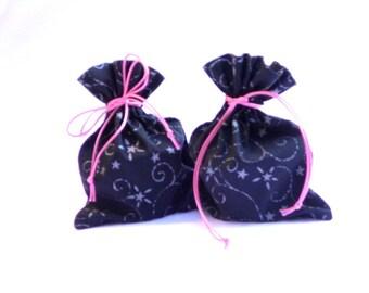 Fabric gift bags, handmade gift bags, black gift bags, reusable gift bags, set of two bags, fabric goodie bags