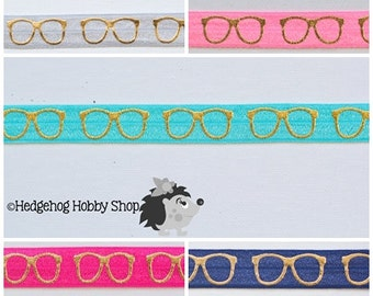 """5/8"""" fold over elastic, 5 yard combo, geeky glasses elastic,  headband supplies"""
