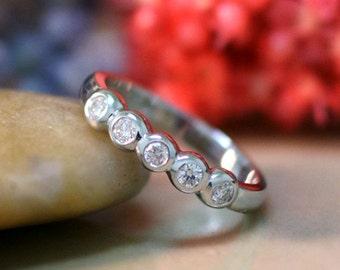 3.1MM Diamond Wedding Band | Diamond Ring | Solid 14K Gold | 5 Diamond Bezel Band | April Birthstone | Fine Jewelry | Free Shipping