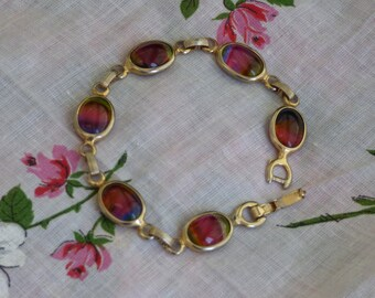 Vintage Sarah Coventry Harmony Collection - Rainbow Glass Cabochon Bracelet - Gold Tone Metal Base - Clean - Minimal Signs of Use or Wear